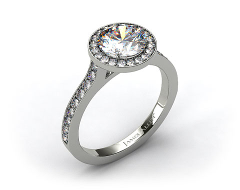 Platinum Pave Halo &amp; Shoulders Engagement Ring (Round Center)